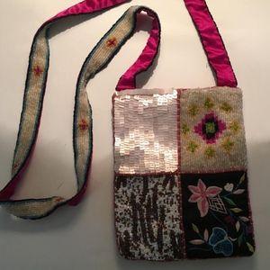 Beaded purse, Beaded and embroidered handbag, pink